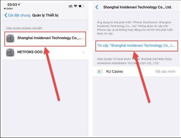 Tùy chọn xác minh ứng dụng Kubet trên iOS
